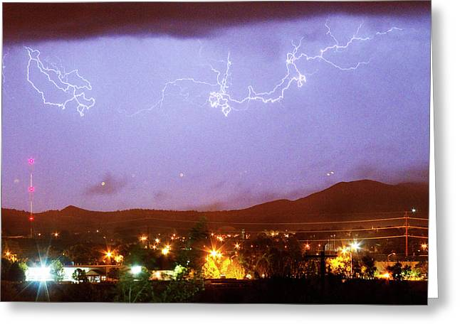Loveland Colorado Front Range Foothills  Lightning Thunderstorm Greeting Card by James BO  Insogna