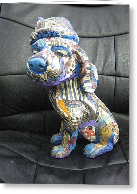Stripes Sculptures Greeting Cards - Lovely Dog Greeting Card by Sima Amid Wewetzer
