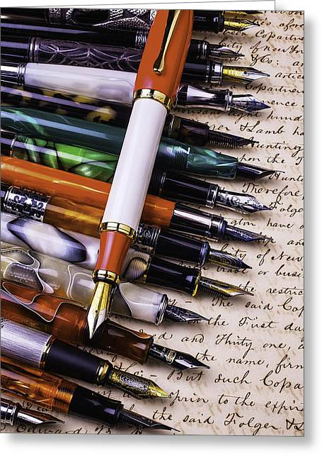Handwritten Greeting Cards - Lovely Fountain Pens Greeting Card by Garry Gay