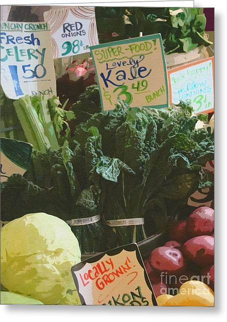 Locally Grown Greeting Cards - Lovely Kale Greeting Card by Lydia L Kramer