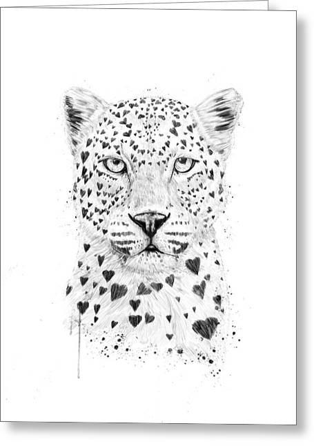 Black Leopard Greeting Cards - Lovely leopard Greeting Card by Balazs Solti