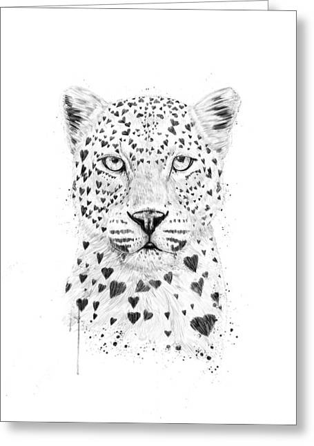 Humor Greeting Cards - Lovely leopard Greeting Card by Balazs Solti