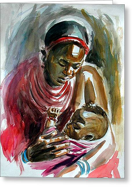 Obama Children Greeting Cards - Lovely Masai Mother Greeting Card by William Mutua