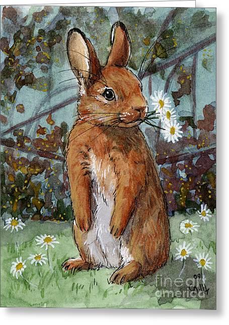 Lovely Rabbits - Daisies For You Greeting Card by Svetlana Ledneva-Schukina