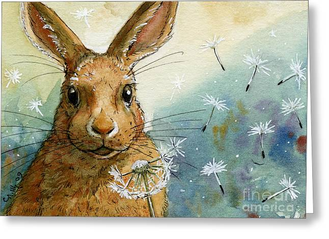 Rabbit Greeting Cards - Lovely Rabbits - With dandelions Greeting Card by Svetlana Ledneva-Schukina