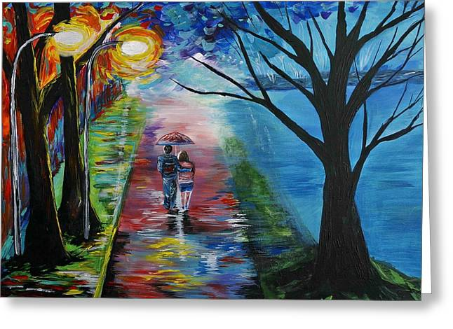 Lovely Stroll By The Lake Greeting Card by Leslie Allen