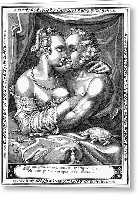 Embrace Greeting Cards - LOVERS, 17th CENTURY Greeting Card by Granger