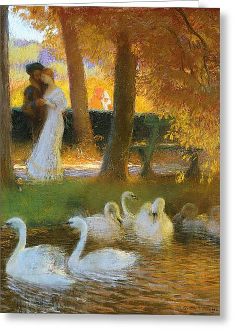 Romantic Pastels Greeting Cards - Lovers and Swans  The Autumn Walk Greeting Card by Gaston de Latouche