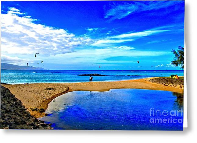 Ocean Landscape Greeting Cards - Lovers At Kanaha Beach Greeting Card by DJ Florek
