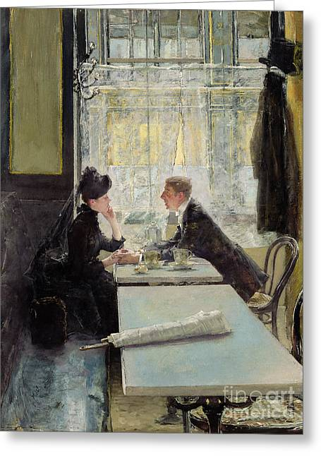Couple Greeting Cards - Lovers in a Cafe Greeting Card by Gotthardt Johann Kuehl