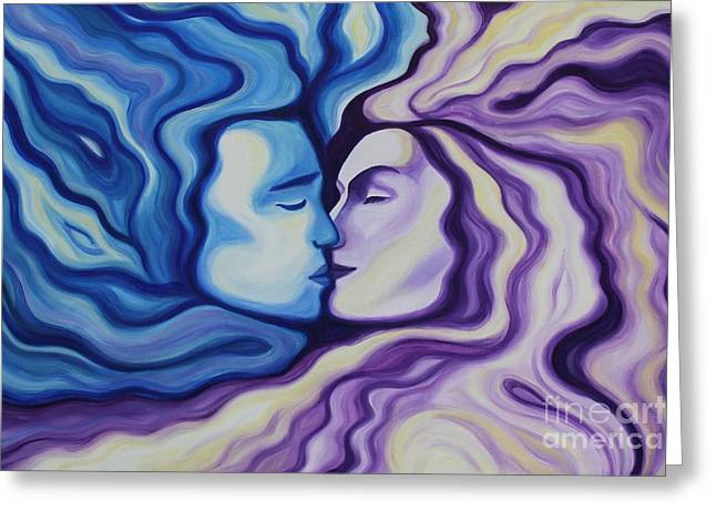 Man Greeting Cards - Lovers in Eternal Kiss Greeting Card by Jindra Noewi