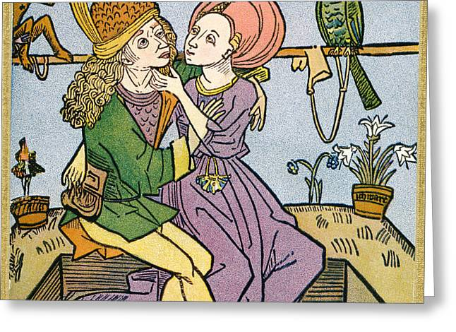 Embrace Drawings Greeting Cards - Lovers In The Middle Ages. From Greeting Card by Ken Welsh