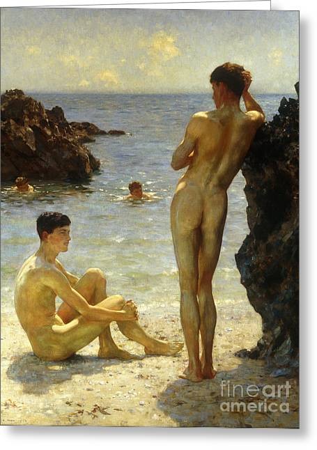 Best Sellers -  - On The Beach Greeting Cards - Lovers of the Sun Greeting Card by Henry Scott Tuke