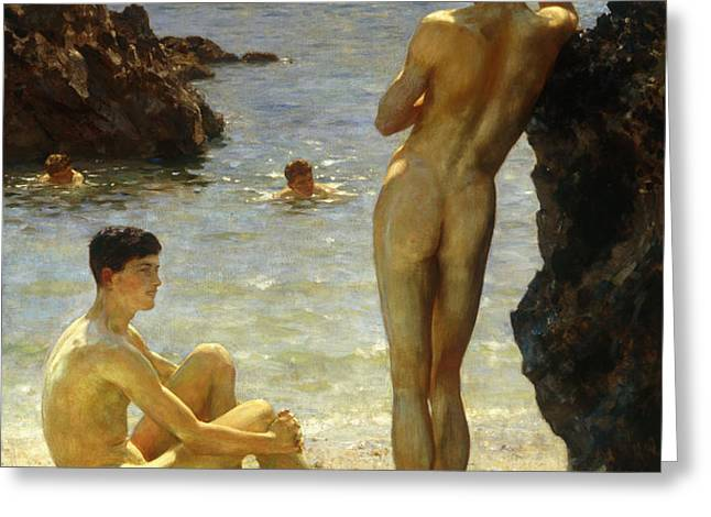 Lovers of the Sun Greeting Card by Henry Scott Tuke