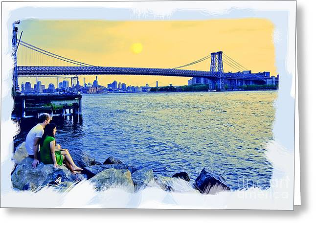 River View Greeting Cards - Lovers On The Rocks Greeting Card by Madeline Ellis