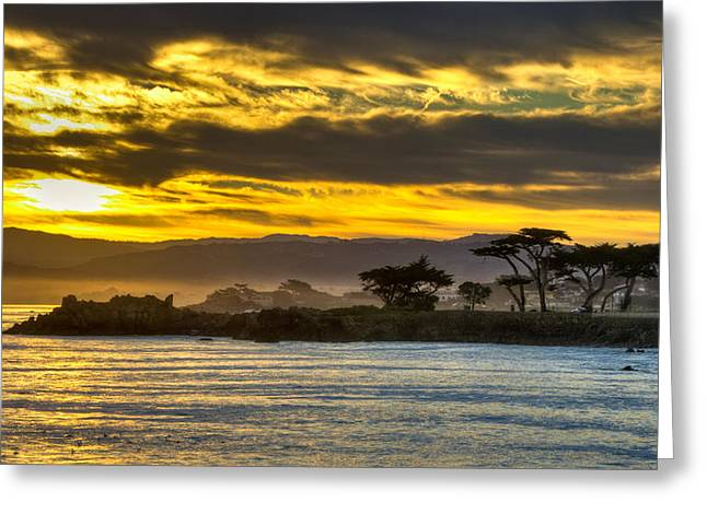 Lover's Point Sunrise Greeting Card by Connie Cooper-Edwards