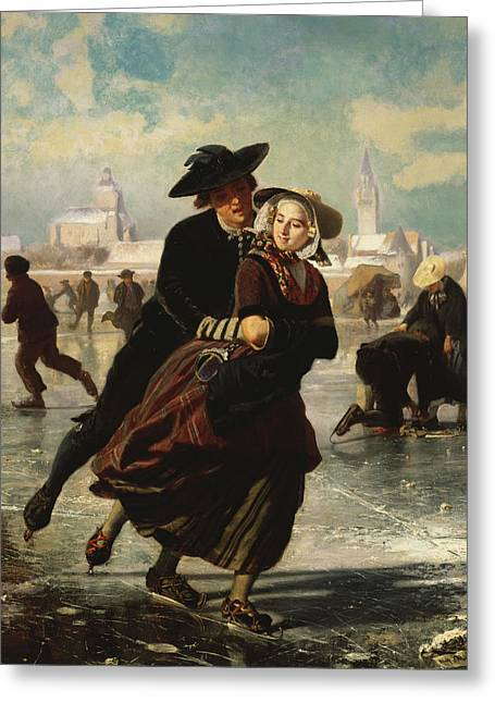 Ice-skating Greeting Cards - Lovers Skating Greeting Card by Adolf Alexander Dillens