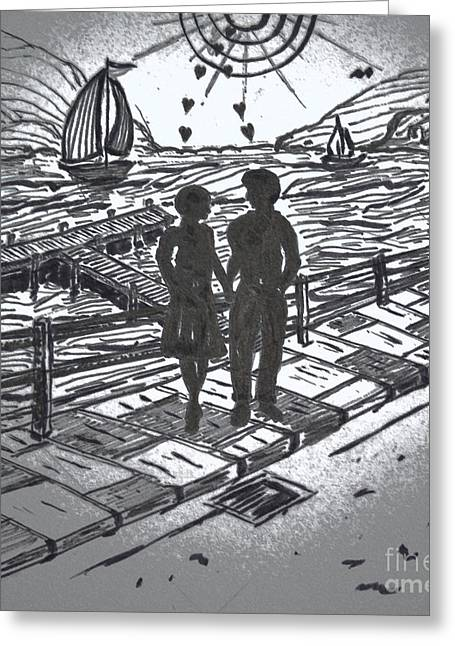 Carrier Drawings Greeting Cards - Lovers Walk Greeting Card by Liam Conroy