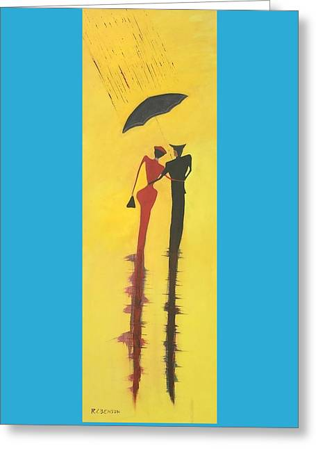 Abstract Rain Greeting Cards - Walking in the Rain is No2 Lovers Walk series  Greeting Card by Richard Benson