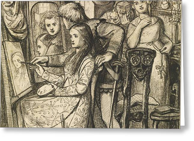 Love's Mirror Or A Parable Of Love Greeting Card by Dante Gabriel Rossetti