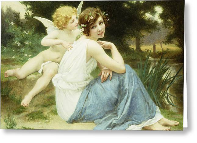 Floating Girl Greeting Cards - Loves Whisper Greeting Card by Guillaume Seignac