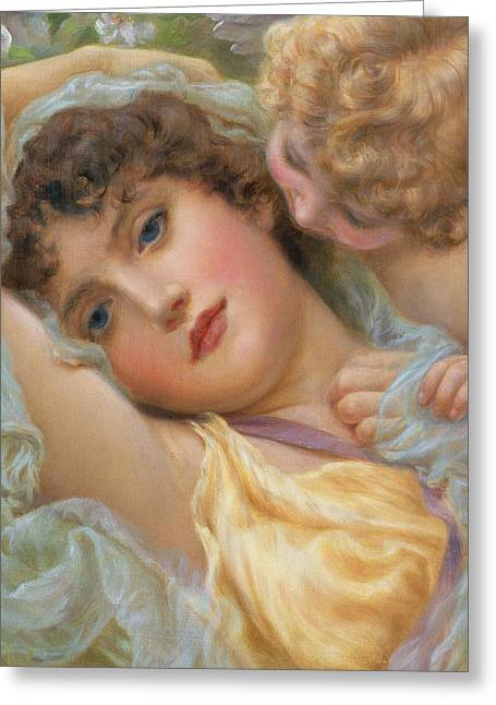 Cupid Greeting Cards - Loves Whispers Greeting Card by NP Davies