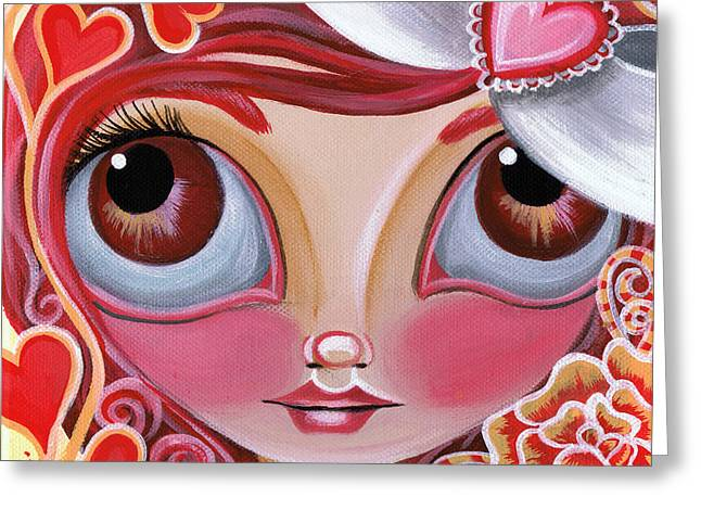 Fairy Hearts Pink Flower Greeting Cards - Lovey Dovey Greeting Card by Jaz Higgins