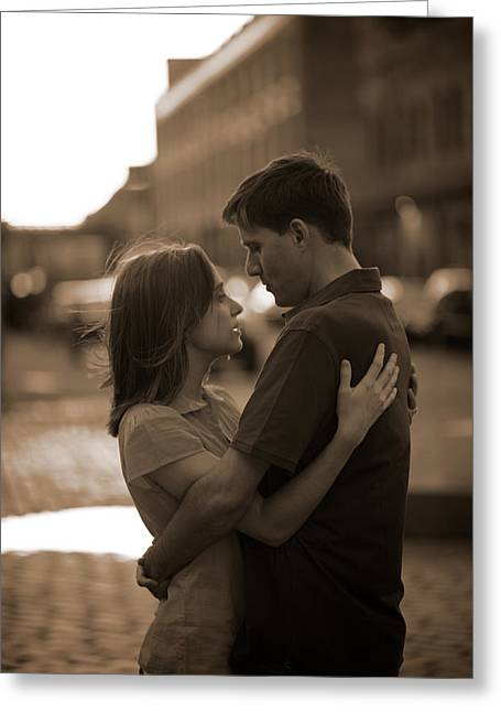 Looking Around Greeting Cards - Loving Couple Looking Into Each Others Greeting Card by Gillham Studios