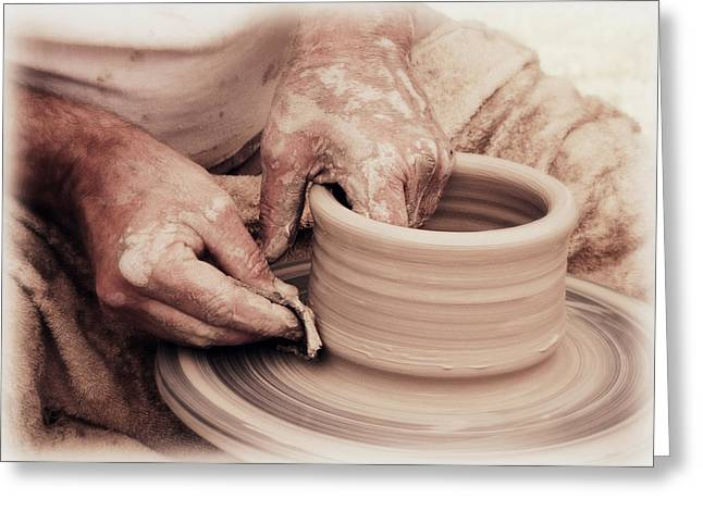Master Potter Greeting Cards - Loving hands creation Greeting Card by Emanuel Tanjala