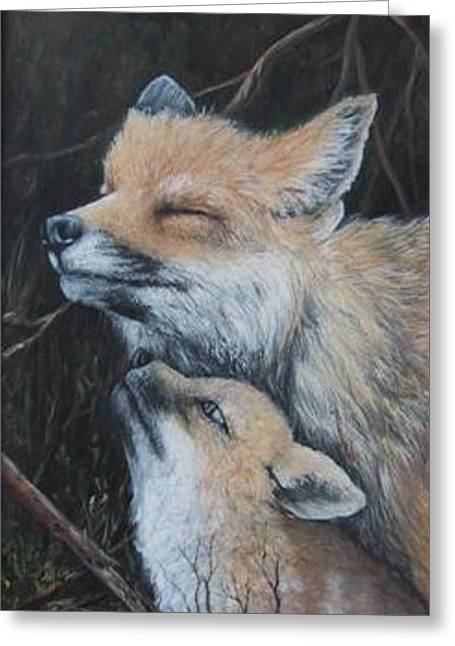 Fox Kit Paintings Greeting Cards - Loving Mom Greeting Card by Theresa Jefferson