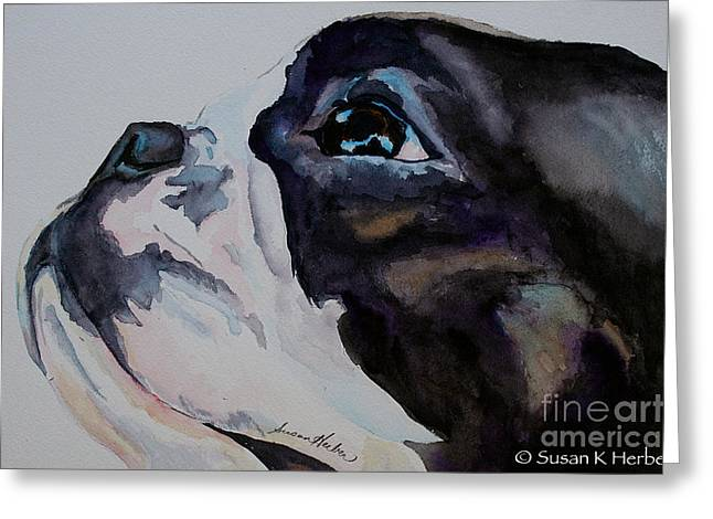 Boston Terrier Watercolor Greeting Cards - Loving Soul Greeting Card by Susan Herber