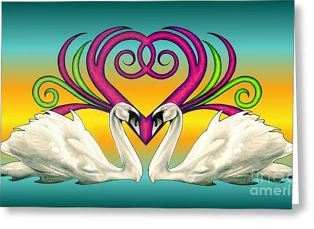 Swans... Greeting Cards - Loving Souls Greeting Card by Sheryl Unwin