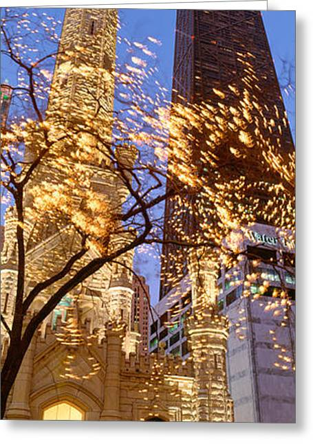 Old Light Bulb Greeting Cards - Low Angle View Of An Illumined Tower Greeting Card by Panoramic Images