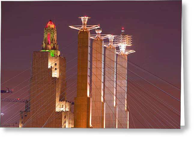 Low Angle View Of Cables Attached Greeting Card by Panoramic Images