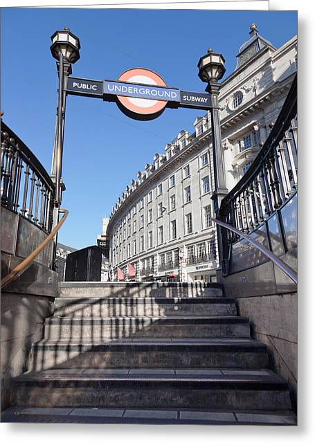 Low Angle View Of Entrance Of Subway Greeting Card by Panoramic Images