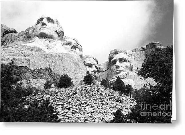 National Parks Greeting Cards - Low Angle View of Mount Rushmore National Monument South Dakota Black and White Greeting Card by Shawn O