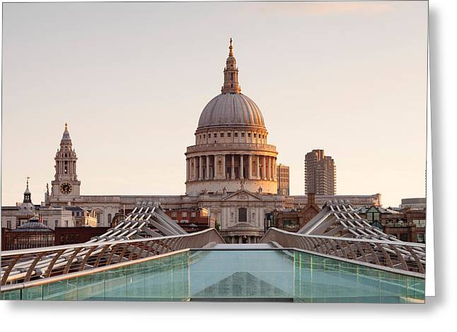 Low Angle View Of St. Pauls Cathedral Greeting Card by Panoramic Images
