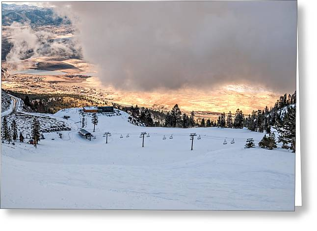 Snow Boarder Greeting Cards - Low Cloud Greeting Card by Maria Coulson