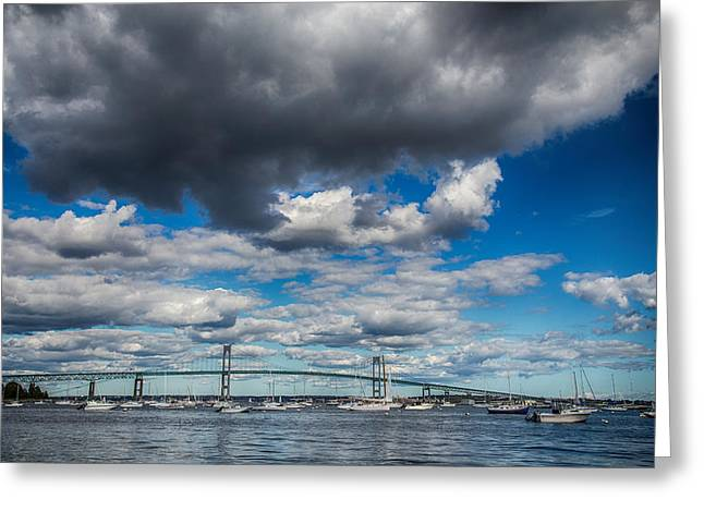 Sailboats In Harbor Greeting Cards - Low Clouds Greeting Card by Karol  Livote