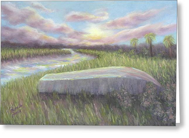 Patriots Pastels Greeting Cards - Low Country Dawn at Botany Bay Greeting Card by Pamela Poole