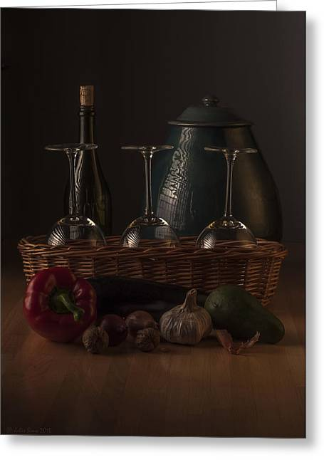 Interior Still Life Digital Greeting Cards - Low Key Still Life Composition for a Kitchen Greeting Card by Julis Simo