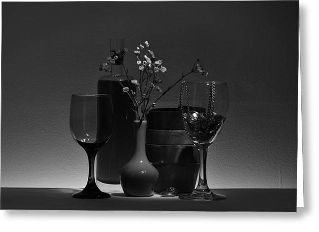 Glass Vase Greeting Cards - Low Light Delight in Black and White Greeting Card by Brad  Andrews