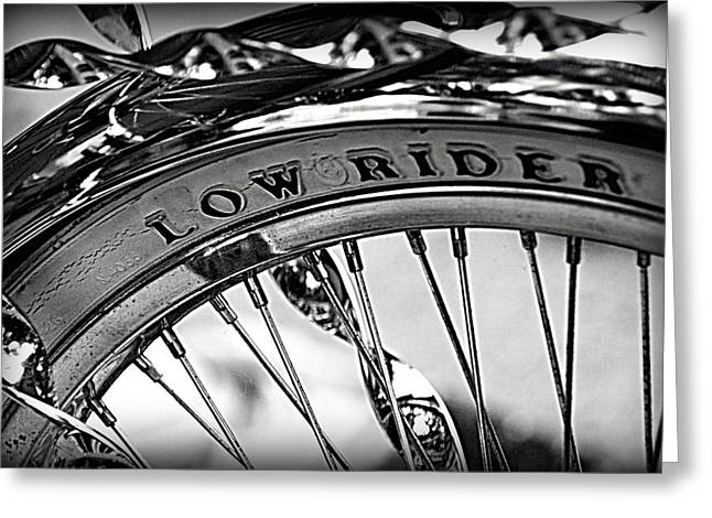 Lowrider Greeting Cards - Low Rider in Black and White Greeting Card by Tam Graff