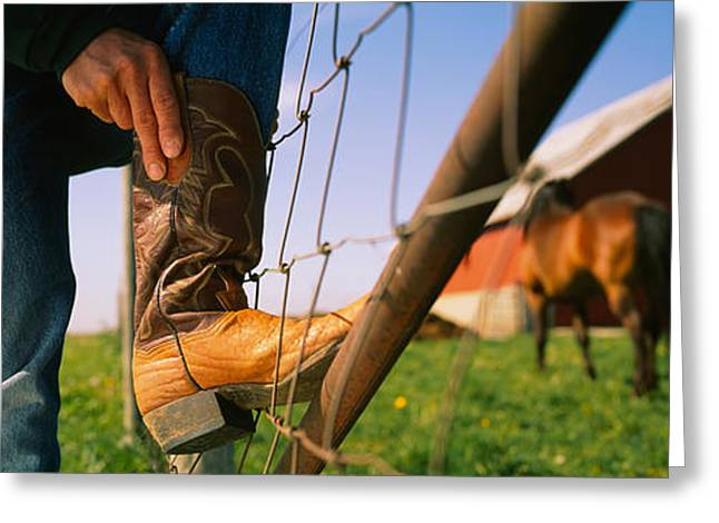 Illinois Barns Greeting Cards - Low Section View Of A Cowboy Adjusting Greeting Card by Panoramic Images