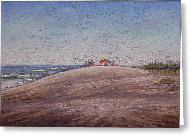 Umbrella Pastels Greeting Cards - Low Tide At The Beach Greeting Card by Deb Spinella