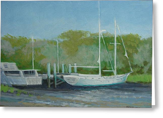 Boats At Dock Greeting Cards - LOW TIDE No.1 Greeting Card by Robert Rohrich