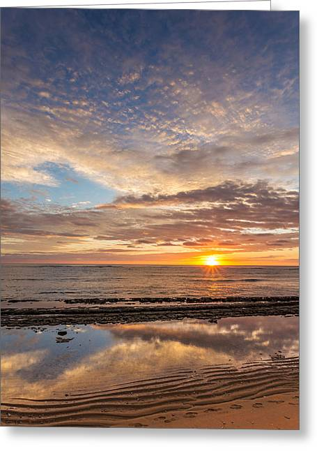 Ocean. Reflection Greeting Cards - Low Tide Sunrise Greeting Card by Pierre Leclerc Photography