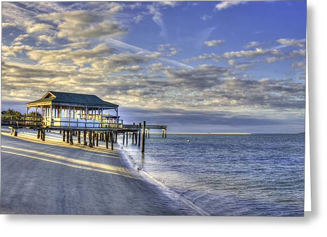 On The Beach Greeting Cards - Low Tide Sunrise Tybee Island Greeting Card by Reid Callaway