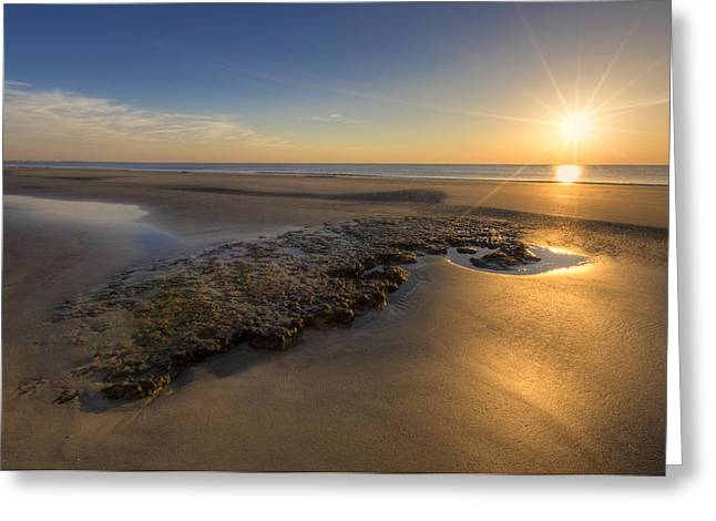 On The Beach Greeting Cards - Low Tides Greeting Card by Debra and Dave Vanderlaan