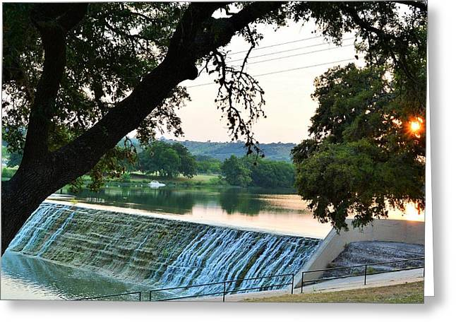 Trees Reflecting In Water Greeting Cards - Low Water Dam Sunset Greeting Card by Don McAllister